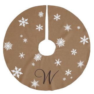 Monogram Snowflake Tree Skirt Brushed Polyester Tree Skirt