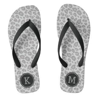 Monogram Soft Grey Leopard Print Flip Flops