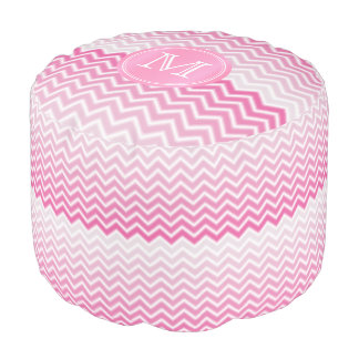 Monogram Soft Pink and White Chevron Stripes Pouf