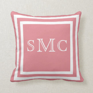 MONOGRAM Solid dusty rose pink white plain pillow
