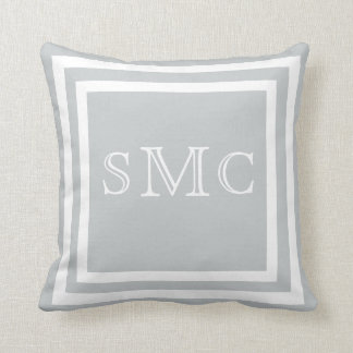 MONOGRAM Solid light grey plain pillow
