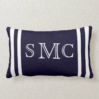 MONOGRAM Solid navy blue and white plain pillow