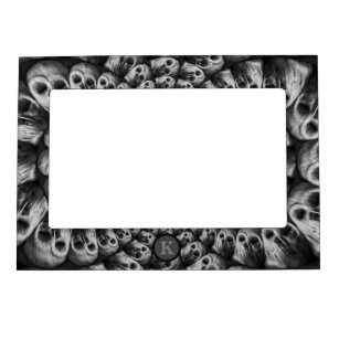 Monogram Spooky Skulls Abstract Black And White Magnetic Frame