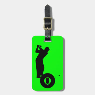 Monogram Sports Black Green Golf Luggage Travel Luggage Tag