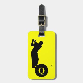 Monogram Sports Black Yellow Golf Luggage Travel Luggage Tag