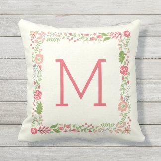 Monogram spring floral border coral modern peach throw pillow