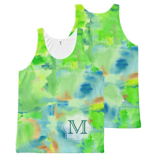 Monogram Spring Forest Abstract Watercolor Collage All-Over-Print Tank Top