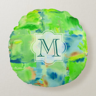 Monogram Spring Forest Abstract Watercolor Collage Round Pillow