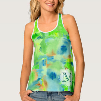 Monogram Spring Forest Abstract Watercolor Collage Tank Top