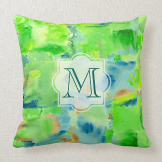Monogram Spring Forest Abstract Watercolor Collage Throw Pillow