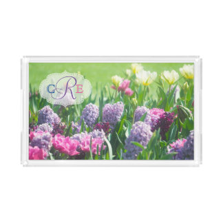 Monogram Spring Garden Beautiful Tulips Hyacinth Acrylic Tray