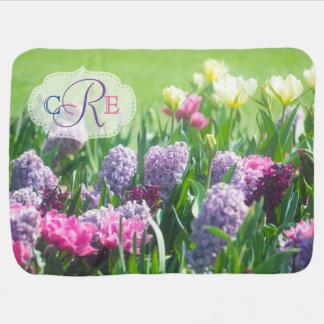 Monogram Spring Garden Beautiful Tulips Hyacinth Baby Blanket