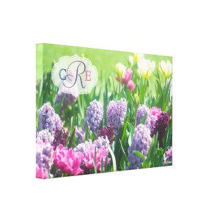 Monogram Spring Garden Beautiful Tulips Hyacinth Canvas Print