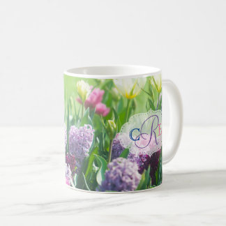 Monogram Spring Garden Beautiful Tulips Hyacinth Coffee Mug