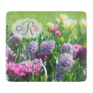 Monogram Spring Garden Beautiful Tulips Hyacinth Cutting Board