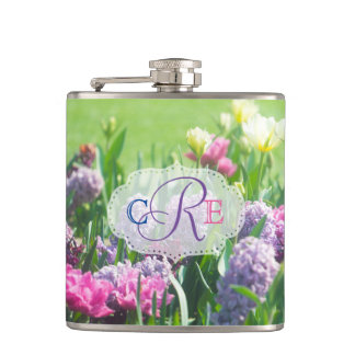 Monogram Spring Garden Beautiful Tulips Hyacinth Hip Flask