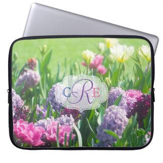 Monogram Spring Garden Beautiful Tulips Hyacinth Laptop Sleeve