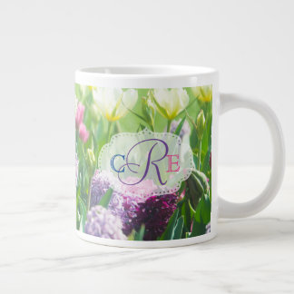 Monogram Spring Garden Beautiful Tulips Hyacinth Large Coffee Mug