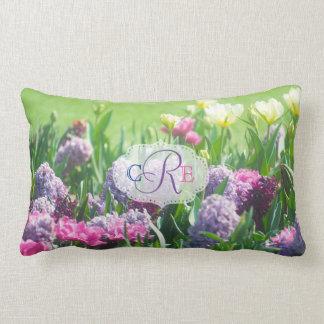 Monogram Spring Garden Beautiful Tulips Hyacinth Lumbar Pillow