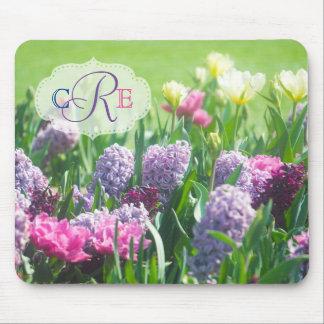Monogram Spring Garden Beautiful Tulips Hyacinth Mouse Pad