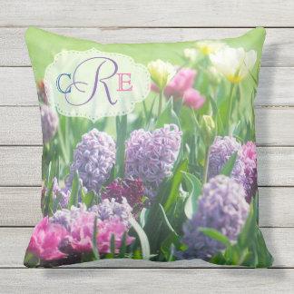 Monogram Spring Garden Beautiful Tulips Hyacinth Outdoor Pillow