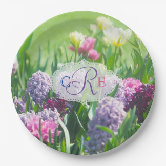 Monogram Spring Garden Beautiful Tulips Hyacinth Paper Plate