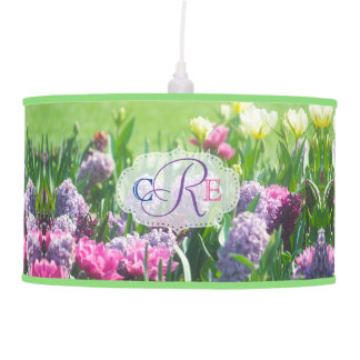 Monogram Spring Garden Beautiful Tulips Hyacinth Pendant Lamp