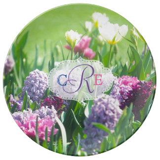 Monogram Spring Garden Beautiful Tulips Hyacinth Plate