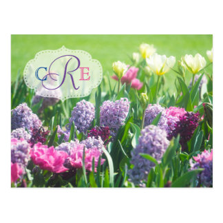 Monogram Spring Garden Beautiful Tulips Hyacinth Postcard