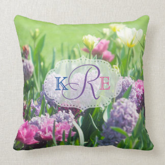Monogram Spring Garden Beautiful Tulips Hyacinth Throw Pillow
