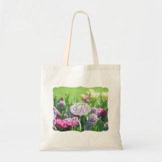 Monogram Spring Garden Beautiful Tulips Hyacinth Tote Bag