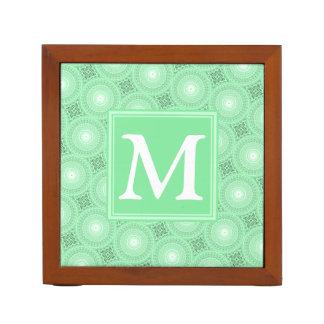 Monogram spring green circles pattern desk organizer