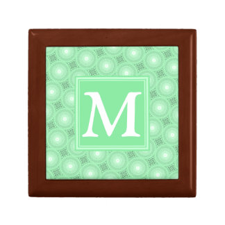 Monogram spring green circles pattern gift box