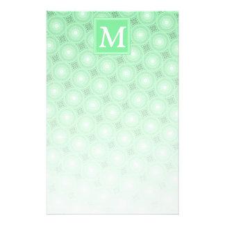 Monogram spring green circles pattern stationery