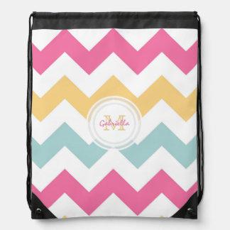 Monogram Spring Pastel Chevron Print Backpack