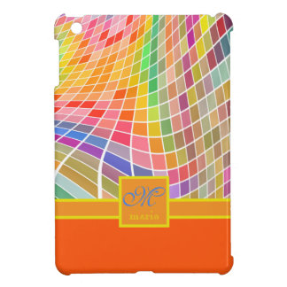Monogram Square Tiles Curved Surface Orange Cover For The iPad Mini