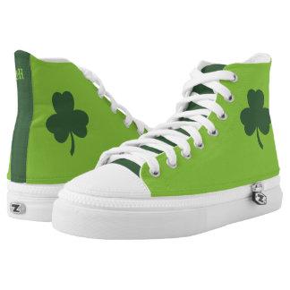 Monogram. St Patrick's Day Green Clover High Tops