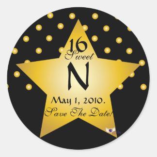 Monogram Star S-16 Polka Dots Save The Date -Cust. Classic Round Sticker