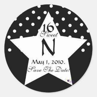 Monogram Star S-16 Polka Dots Save The Date -Cust. Round Sticker
