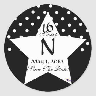 Monogram Star S-16 Polka Dots Save The Date -Cust. Classic Round Sticker