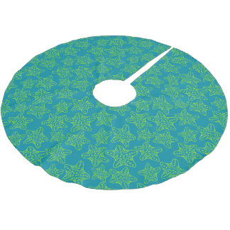 Monogram Starfish Crowd Pattern 2 Brushed Polyester Tree Skirt