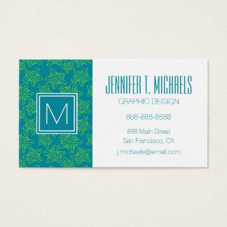 Monogram Starfish Crowd Pattern Business Card