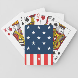 Monogram. Stars and Spangled Banner. US Flag. Playing Cards