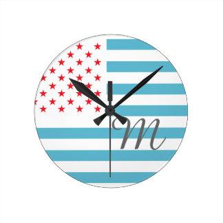 Monogram Stars and Stripes Clocks