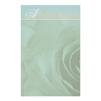 Monogram Stationery Faded Rose On Aqua Blue