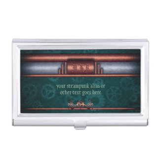 Monogram, Steampunk Art Deco twist, copper teal Business Card Cases