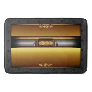 Monogram Steampunk Deco fusion, brass, gold Bath Mat