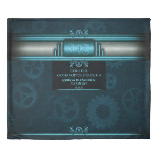 Monogram, Steampunked Deco on ice-blue and teal Duvet Cover