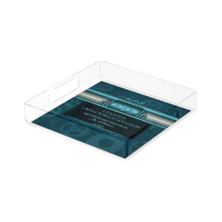 Monogram, Steampunked Deco on ice-blue and teal Serving Tray