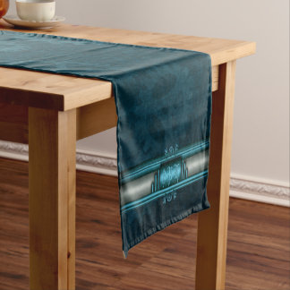 Monogram, Steampunked Deco on ice-blue and teal Short Table Runner